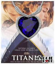 chic Large White Gold Plated Heart of the OCEAN Titanic Necklace Blue Crystal
