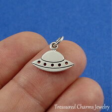 925 Sterling Silver UFO Flying Saucer Charm  - Spaceship Alien Pendant NEW