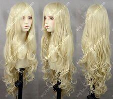 Long Light Blonde Curly Heat Resistant Wavy Cosplay Women's Hair Full Wig Wigs