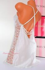 NWT VICTORIA'S SECRET Lingerie VS Slip Slick Lace Bridal Babydoll M White Jewel