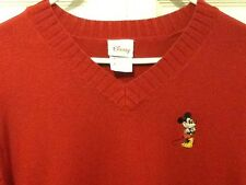 Disney Store Mickey Mouse M Red V Neck Sweater Christmas