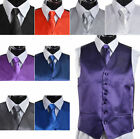 Men's Suit Tuxedo Dress Vest Necktie Bow Tie Handkerchief Set RL