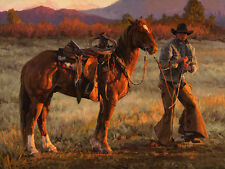 Canvas Print Oil Painting Picture Cowboy on canvas 12x16 Inches L174