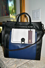 NWT $498 VINCE CAMUTO Canava Luxury TOTE Bag Black/Blue/Cream Smooth Leather