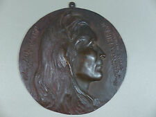 "Rare Antique Bronze Medallion Plaque ""Young Chief"" American Indian Olin L Warner"