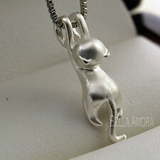 925 Stamped Brushed Frosted Matte Silver Cute Cat Pendant Necklace Chain UK -205