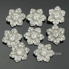 12 X Clear Rhinestone Crystal Sewing Beautiful Flower Buttons 19mm Silver Tone