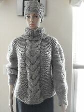 Grey Hand Knitted thick Wool turtleneck /cable Sweater   Pullover  Unisex M L XL