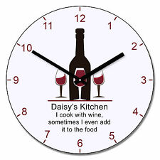 Personalised I Cook with Wine clock, New Home Gift, Friend Gift, kitchen clock