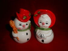 X~Vintage JAPAN Napco?~Christmas Salt Pepper Shakers~MR MRS Santa SNOWMAN