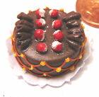1:12th Scale Round Cake With Chocolate Icing Dolls House Miniature Accessory HF