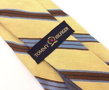 "TOMMY HILFIGER - 56"" Yellow Blue Brown Striped Silk Mens Neck Tie (C1-22)"