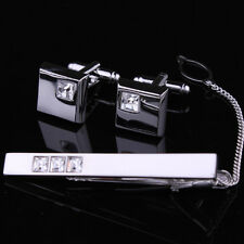 Silver Mens Wedding Party Gift Crystal cufflinks+tie clasp clip set bar pin