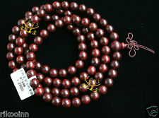 India Gold-Star Lobular Red Sandalwood 8mm*108 Buddhist Prayer Bead Mala Bracele