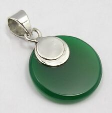 925 Solid Sterling Silver Green Onyx Gemstone Round Drop Pendant