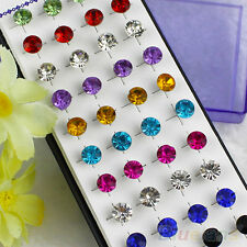 Bulk 20 Pair Mixed Color Unisex Sparkling Round Crystal Punk Cool Stud Earrings