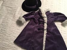 AMERICAN GIRL DOLL SAMANTHA WINTER PURPLE HOLIDAY COAT W MATCHING HAT  RETIRED