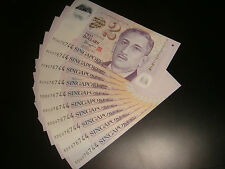 Singapore $2 Portrait Polymer (sign. Tharman) Same Number 076744, 10 pieces UNC