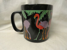 Pink Flamingo Decorated Black Mug Coffee Tea Cup Made in England