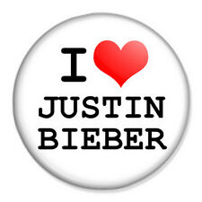 "I Love Justin Bieber 25mm 1"" Pin Badge Button Music Artist Singer Fan"