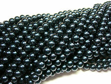 "Deep Blue Black 8mm Glass Pearls beads WOW 30"" strand"