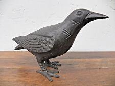 Primitive Large Life-Sized Decorative Black Cast Iron Raven Crow Bird