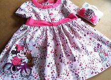 DISNEY STORE BABY WINNIE COTTON DRESS 9-12 mos. ++ MATCHING ELASTIC BOW HEADBAND