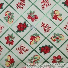 BonEful Fabric FQ Cotton Quilt VTG Fruit Yellow Red Green Strawberry Pear Cherry