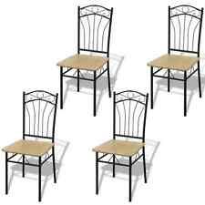 Set 4 sedie in legno marrone chiaro e telaio in ferro soggiorno cucina