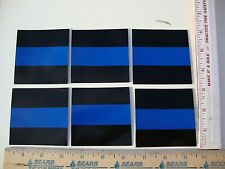 "6 VINYL 3"" X 3"" THIN BLUE LINE REFLECTIVE CAR DECALS STICKERS POLICE SHERIFF"
