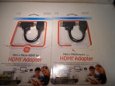GE HDMI to MINI OR MICRO HDMI ADAPTER MODEL 26448 NEW LOT OF 2