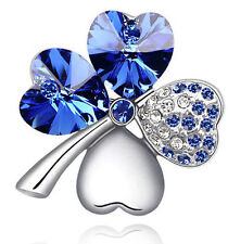 Silver Plated SAPPHIRE ROYAL BLUE Small Clover Pin Brooch NICKEL FREE Jewelry