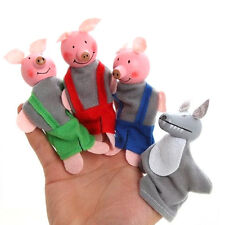 4 Pcs/set Three Little Pigs Finger Puppets Wooden Headed Baby Educational Toy QW
