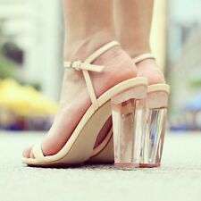 ZARA Perspex Nude Clear Heel Sandals Leather Strappy Heels UK 6 Euro 39