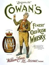 New small COWANS IRISH WHISKY enamel style tin metal advertising sign, 30x40cm