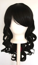 20'' Layered Loose Curly Cut w/ Long Bangs Natural Black Wig