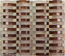 Brown 3D Wave Polished Frosted Glass Honed Marble Cubes Mosaic Tile- 1 Sheet
