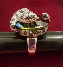 BOA CONSTRICTER PYTHON SNAKE RING WITH OLIVE GREEN STONE SIZE 8