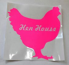 Chicken Coop 'Hen House' Pink Decal 20cm Sticker Poultry Silhouette Vinyl Sign