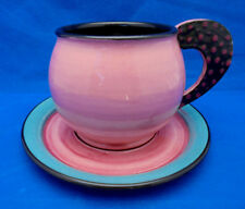 Breakfast Cup Saucer Erin Egan Art Pottery Pink Turquoise Black Flat Handle