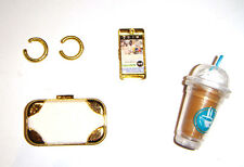 Barbie Doll Sized Accessories Coffee, Cell, Clutch/Purse, For Diorama nv05