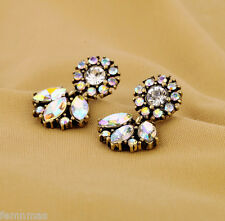 FemNmas Multicolored Rhinestone Round Small Stud AD Earrings For Women