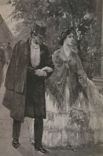 Nicolet YOUNG COUPLE WALKING in TOWN 1889 Christmas Antique Engraving Matted