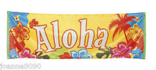 TROPICAL ALOHA BANNER POSTER HIBISCUS FLOWER HAWAIIAN HAWAII PARTY DECORATION