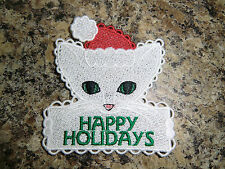 """Embroidered Magnet - Kittie """"Happy Holidays"""""""