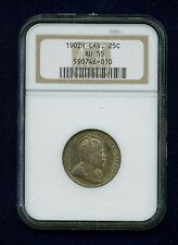 CANADA EDWARD VII 1902-H  25 CENTS COIN, ALMOST UNCIRCULATED, CERTIFIED NGC AU55