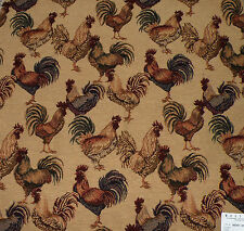 Westgate Rooster Italian Tapestry Upholstery Fabric Remnant & Coord