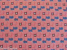 AMERICAN FLAGS STARS MOSAIC on Made In USA 100% COTTON FABRIC Priced By The Yard