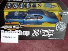 "ERTL 1969 PONTIAC GTO ""THE JUDGE"" BODY SHOP ASSEMBLY MODEL KIT 1/18 BLUE"