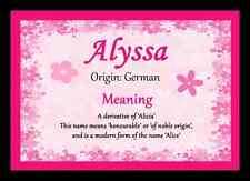 Alyssa Personalised Name Meaning Placemat